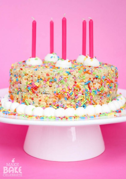 Rice Crispy Birthday Cake