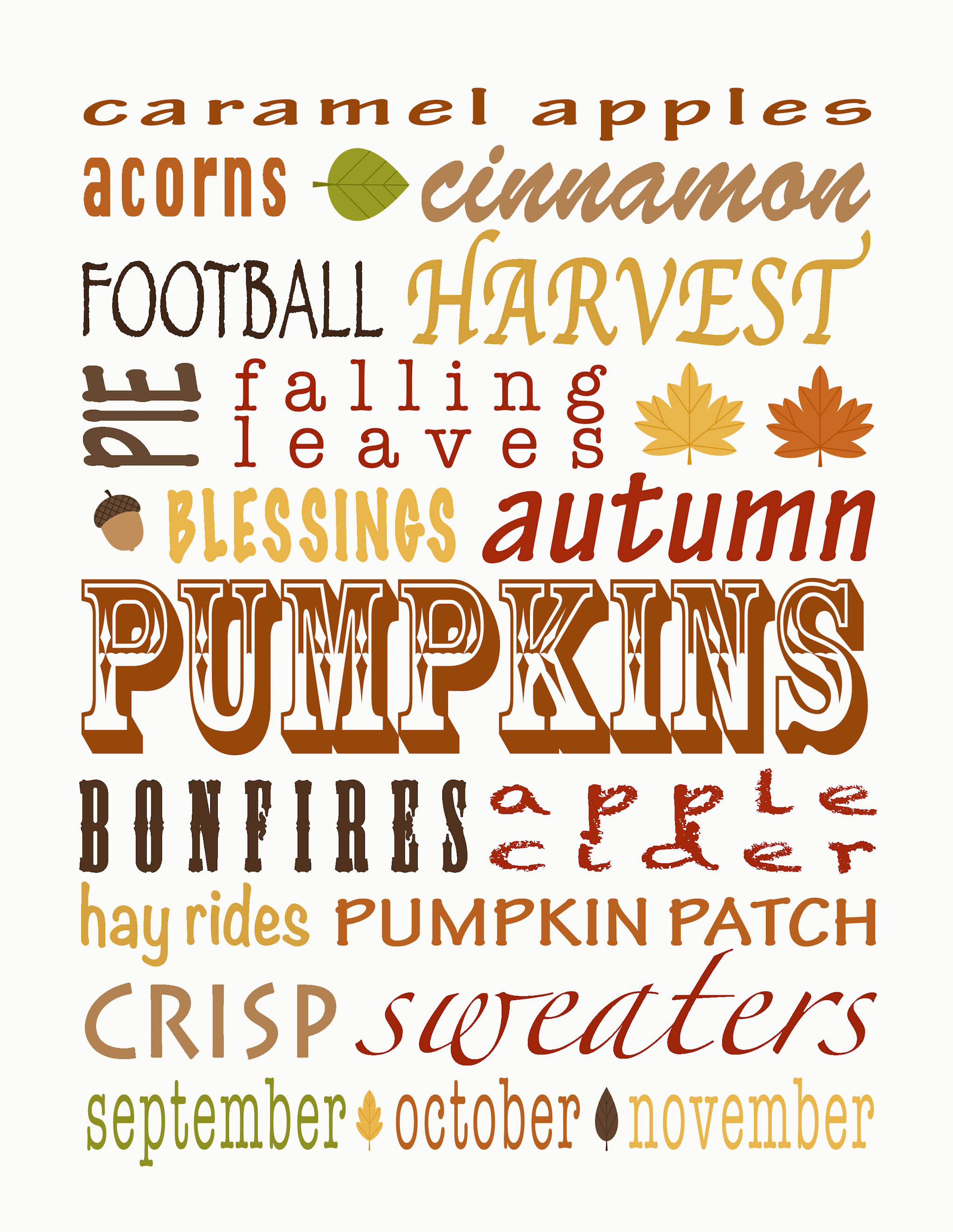 fall subway art free printable