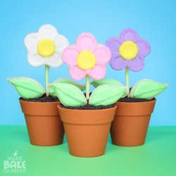 Flower Pot Cupcakes With Cookie Pop Flowers
