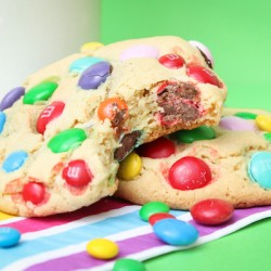 Jumbo M&M Stuffed Cookies