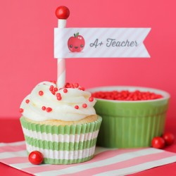 A+ Teacher Cupcakes With FREE Printable!
