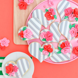 Striped Fondant + Floral Heart Cookies